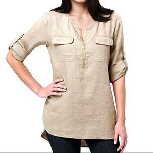Ellen Tracy 100% Linen Roll Tab Linen Tunic